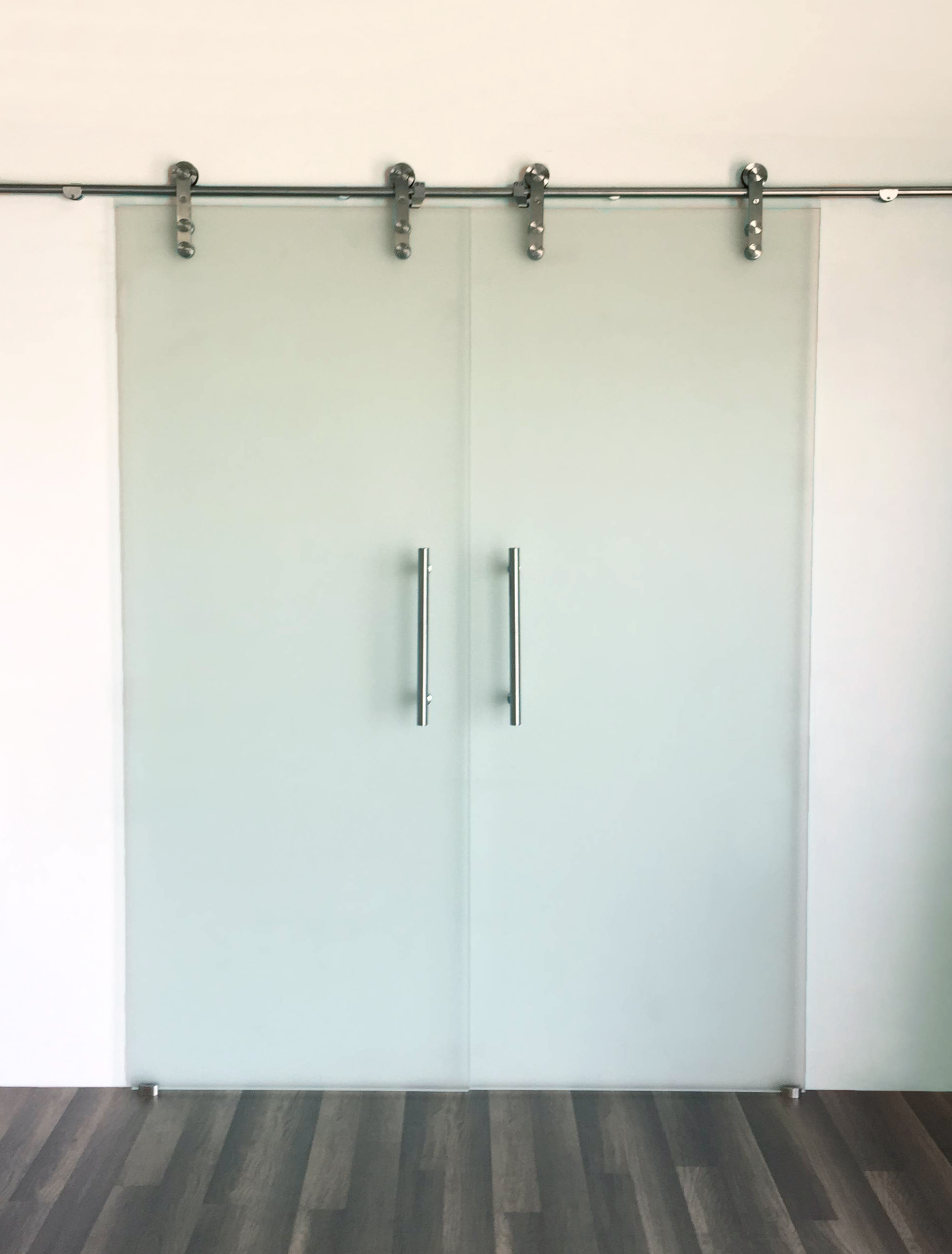 Stainless steel frameless double for Frosted glass barn door