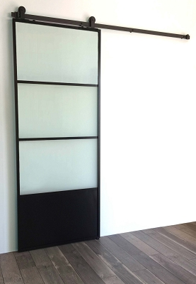 3 Window Glass Door - Black